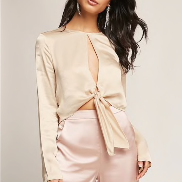 10a69a17bccdb6 DO+BE taupe satin tie crop top